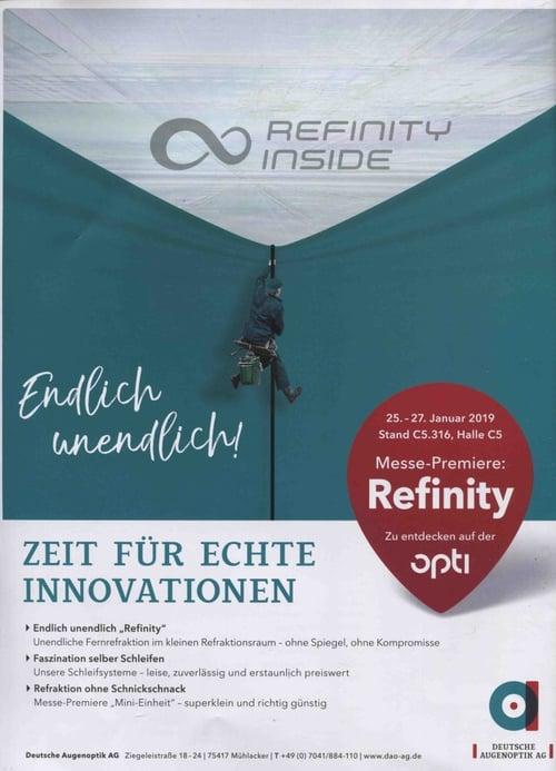 MedTec-Motiv Januar 2019: Printanzeige Refinity von Deutsche Augenoptik AG