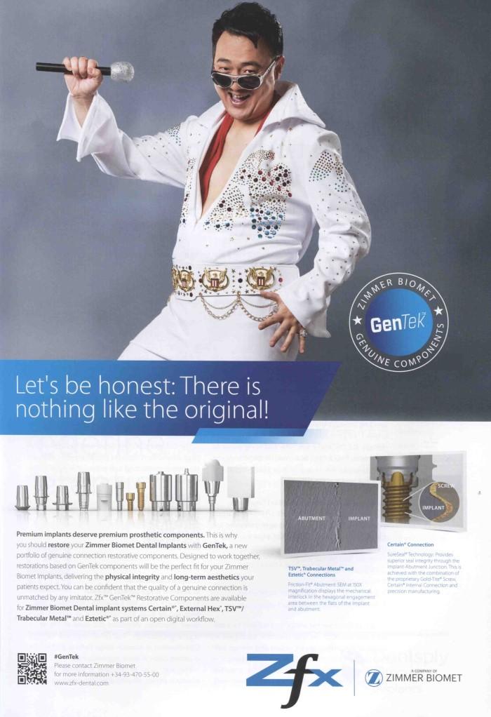 Dental-Motiv März 2019: Werbeanzeige Zimmer Biomet für GenTek