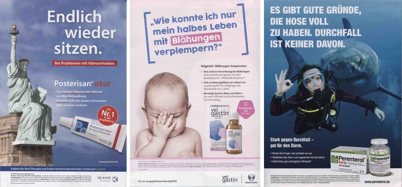 Pharma OCT: Beispiele für humorvolle Werbeanzeigen