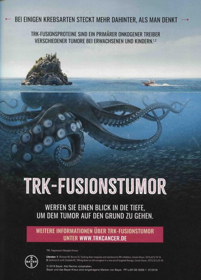 Werbeanzeige Bayer zum Thema Onkologie und TRK-Fusionstumor
