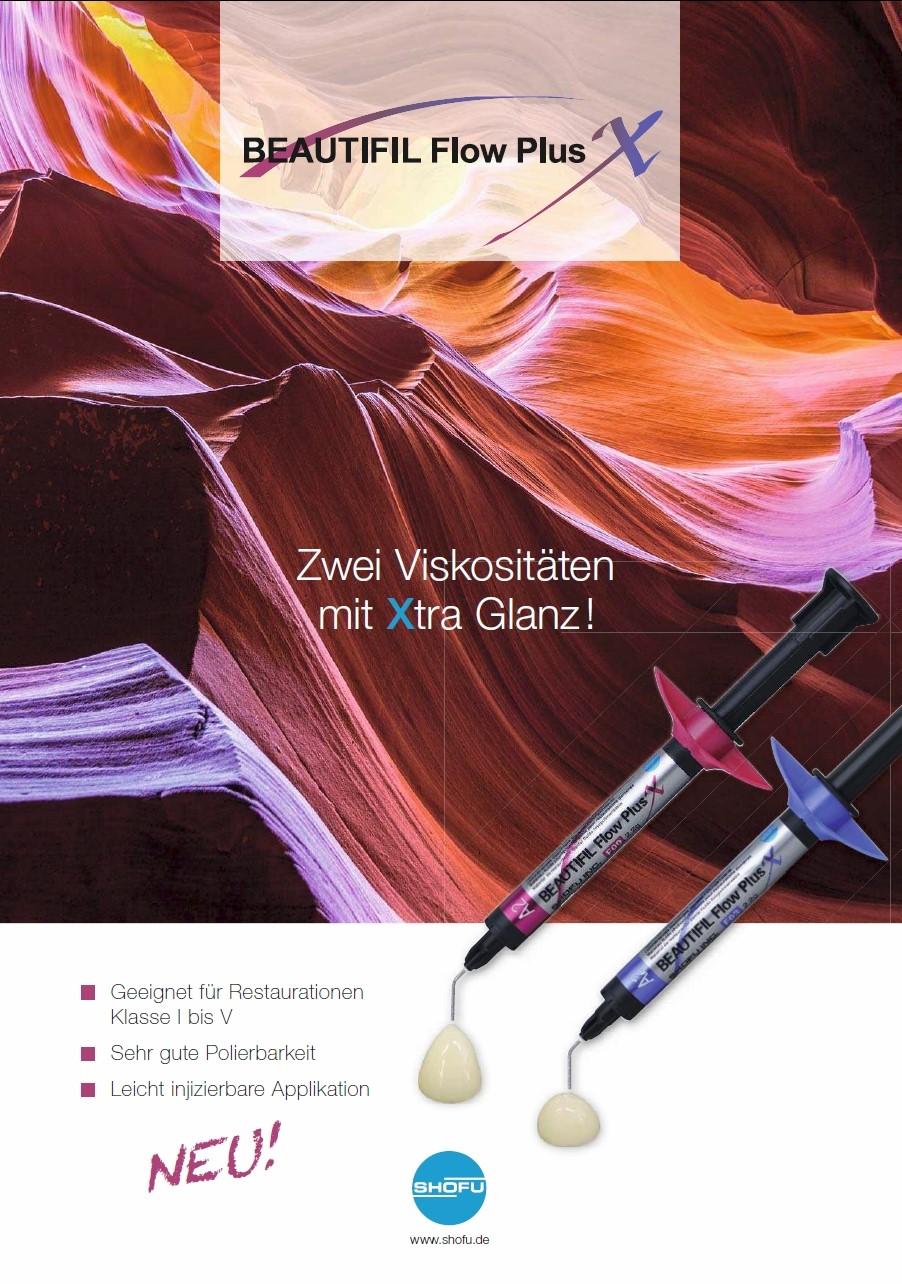 Werbeanzeige für Composite BEAUTIFUL Flow Plus X von SHOFU