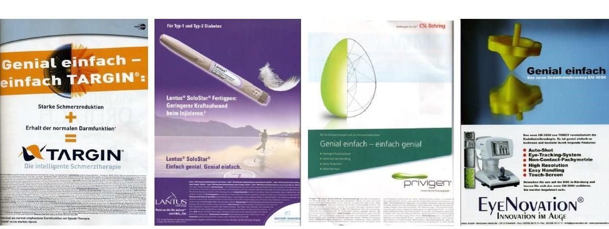Werbeanzeigen mit identischen Botschaften